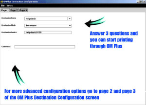 Page_1_of_Destination_Config_Screen_web, OM Plus Screen Shots