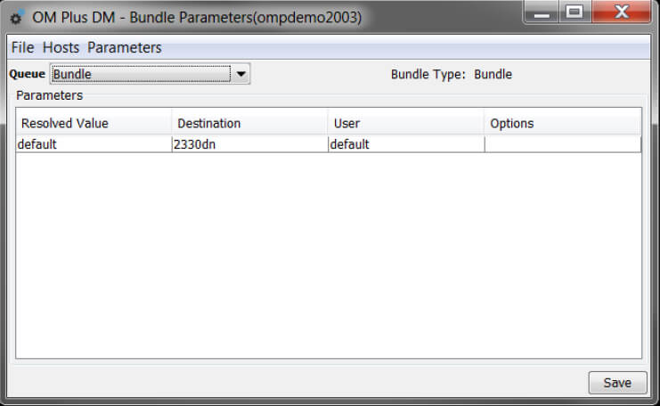 OM Plus DM Bundle Parameters