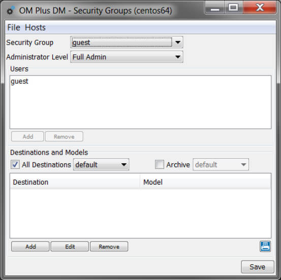 OM Plus DM Security Groups