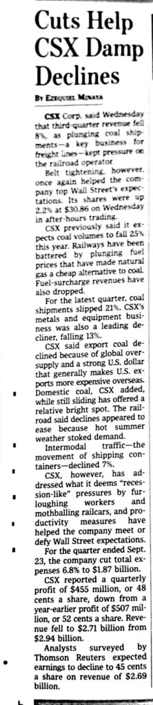 CSX Rail, CSX, Rail, Plus Technologies, OM Plus, Wall Street Journal, WSJ, Cuts Help CSX Damp Declines
